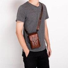 Neue Leder Mini Messenger Taschen für Männer Retro Business Büro Kleine Schulter Tasche Lässig Brieftasche Mini Reise Telefon Beutel #40