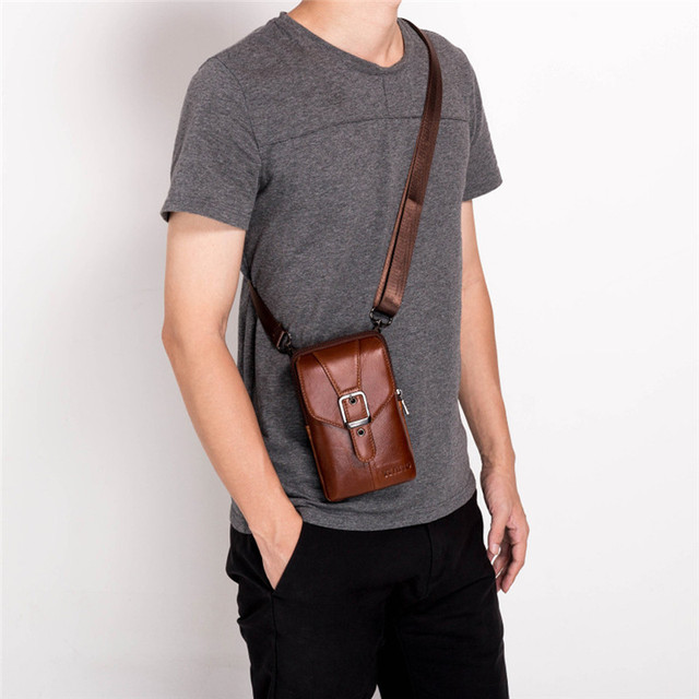 New Leather Mini Messenger Bags for Men Retro Business Office Small Shoulder Bag Casual Wallet Mini Travel Phone Pouch #40