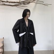Women Fashion Loose Casual Black Splice White Ragged Suit Coat Outerwear Female