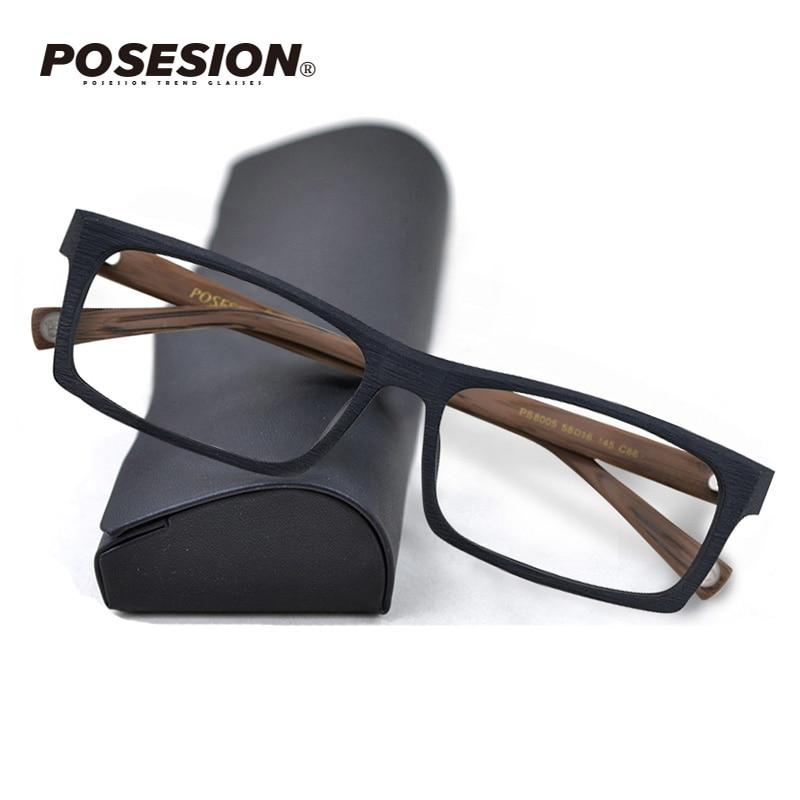 Posesion Wood Glasses Frame Men Square Eyewear 2020 Male Classic Full Optical Prescription Eyeglasses Frames Gafas Oculos