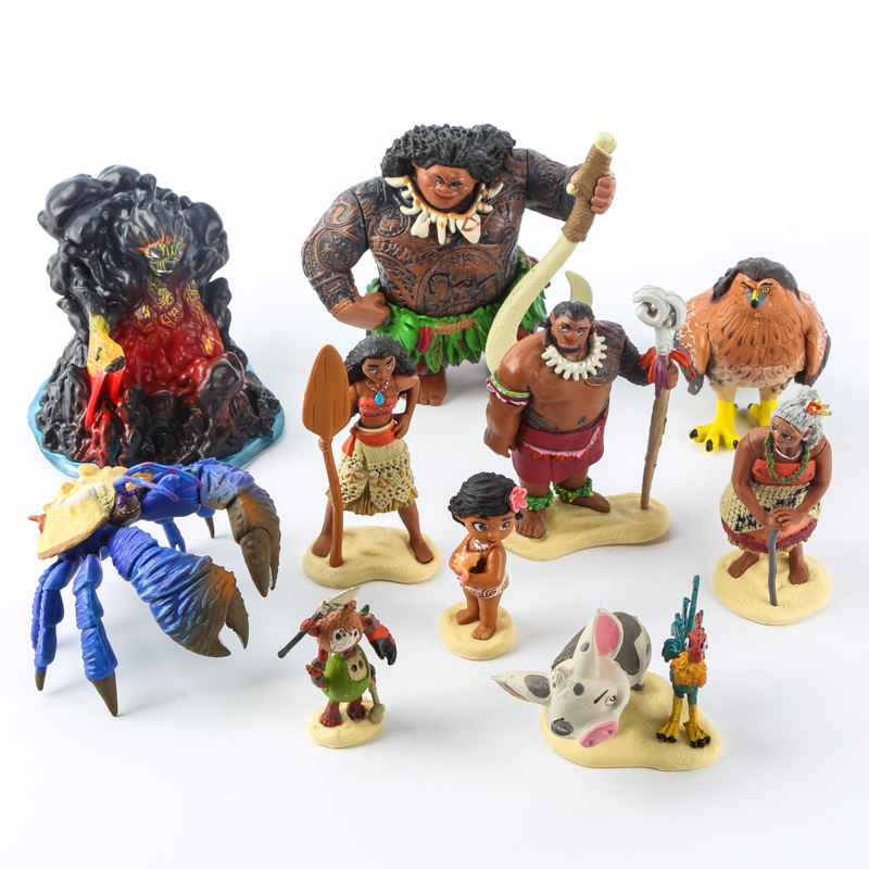 10pcs/set Cartoon Moana Princess Legend Vaiana Maui Chief Tui Tala Heihei Pua Action Figure Decor Toys For Kids Birthday Gift