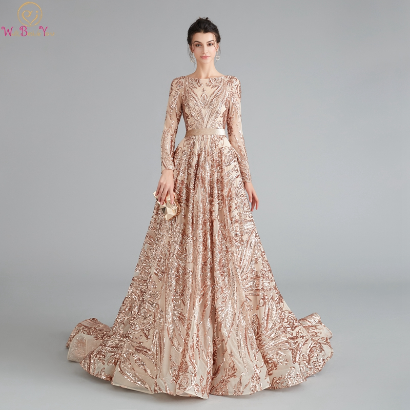 Champagne Women Prom Dresses 2020 Luxury Sequined Lace O-Neck Long Sleeves Formal Estidos De Gala Beading Crystal Evening Gowns