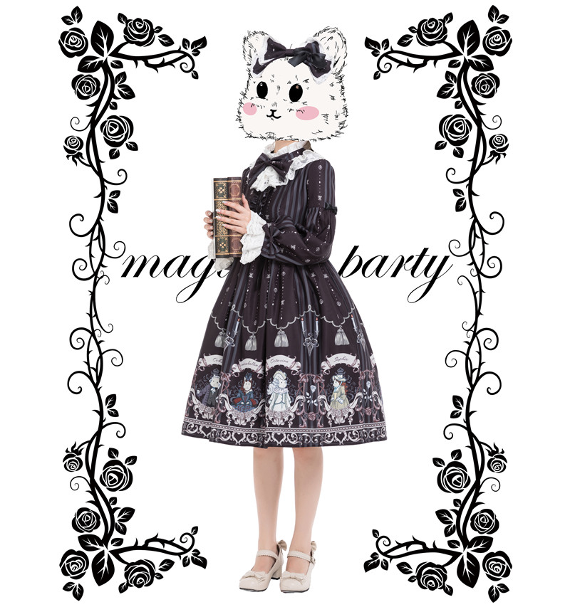 Princess tea party sweet lolita dress retro lace bowknot flare sleeve cute printing victorian dress kawaii girl gothic op/jsk