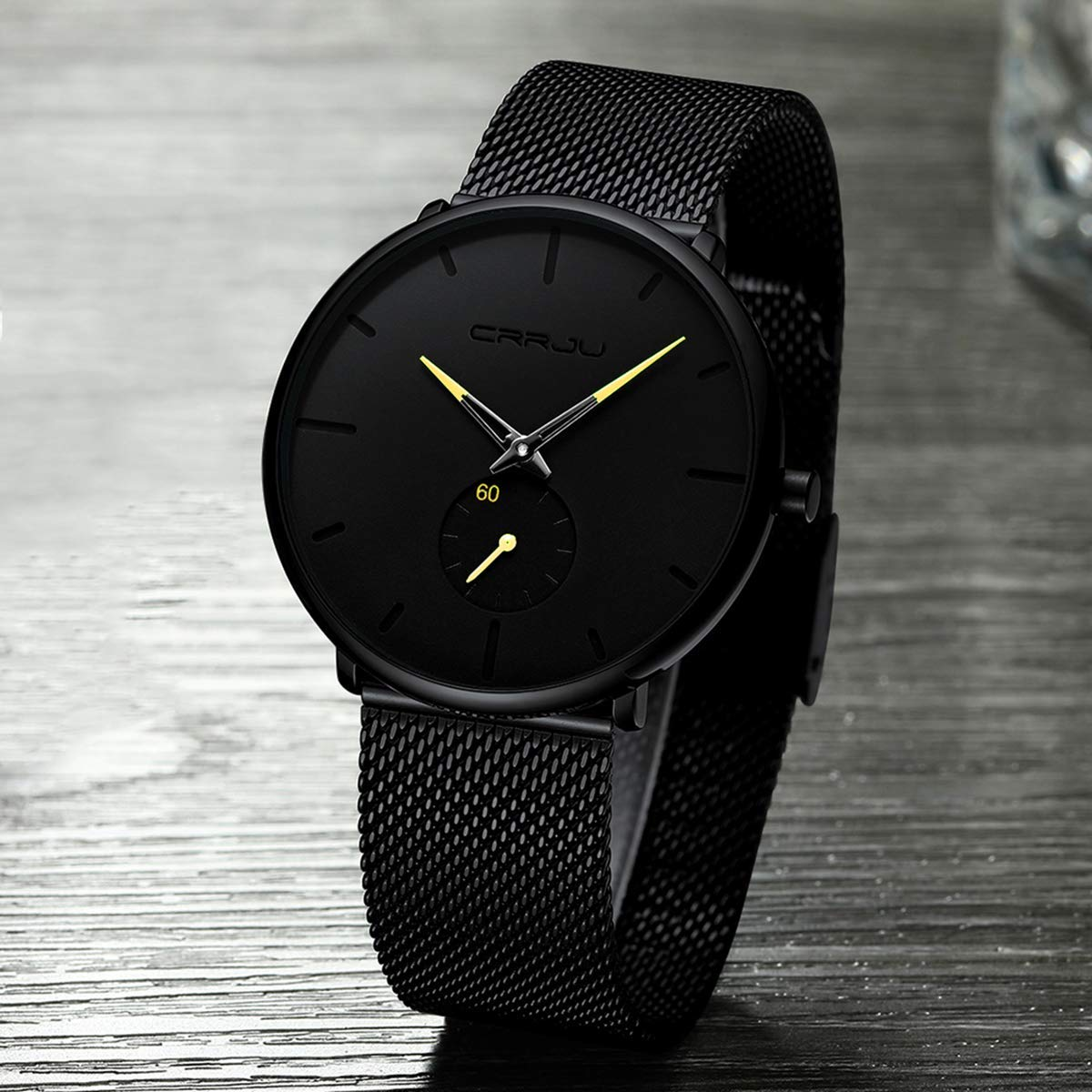 Hdd7aea1c92f5445f8d6a4d4b6c226aach CRRJU Ultra Thin Blue Stainless steel Quartz Watches Men Simple Fashion Business Japan Wristwatch Clock Male Relogio Masculino