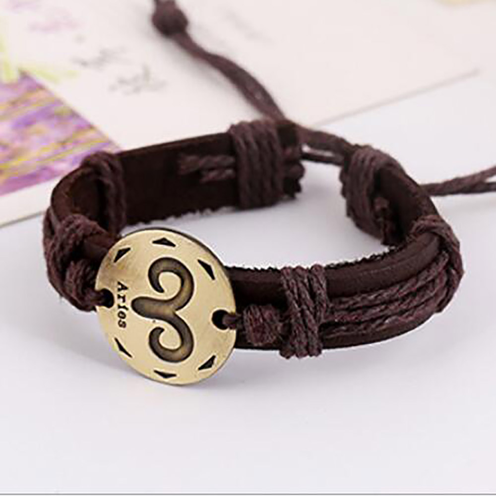 Creative twelve constellation leather bracelet braided wristband for men adjustable Ladies jewelry Student twine