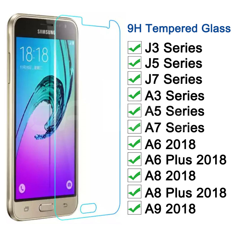 Tempered Glass On For Samsung Galaxy A3 A5 A7 J3 J5 J7 2015 2016 2017 A6 A8 Plus A9 2018 Screen Protector Protective Glass Film