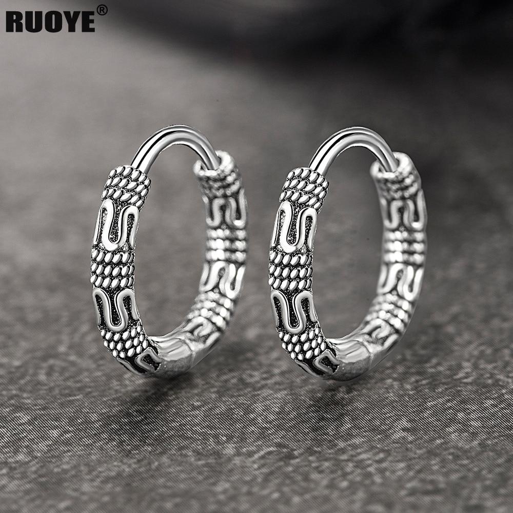 Vintage 925 Sterling Silver Hoop Earrings Pattern Earring For Women Silver Jewelry Korea New