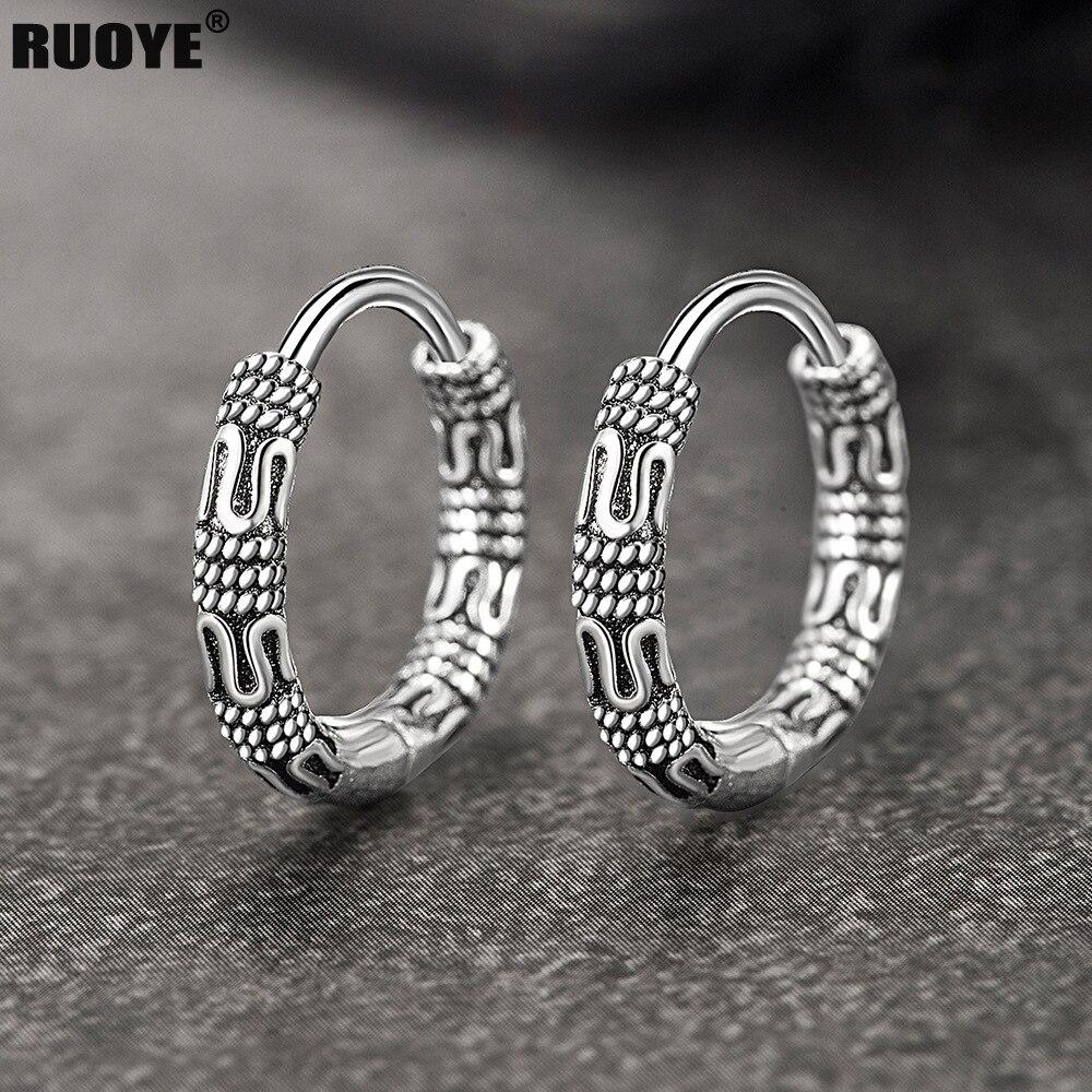 Silver Hoop Pattern Earrings