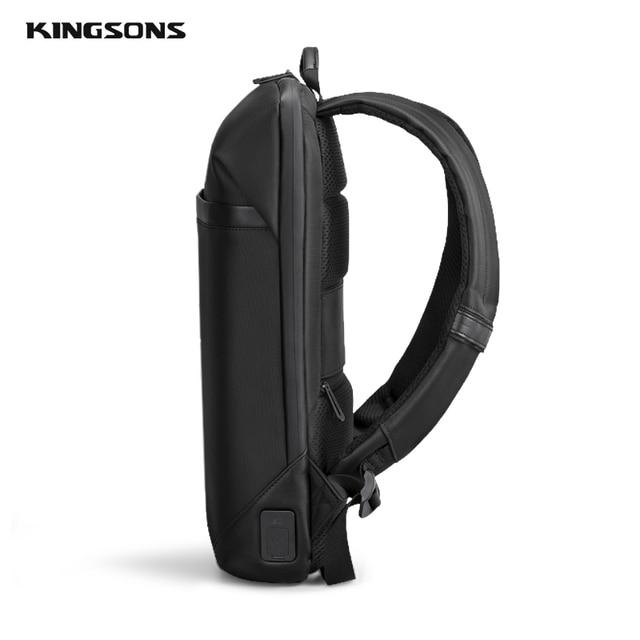 Kingsons magro computador portátil mochila homens 15.6 polegada trabalho de escritório homens mochila de negócios unisex preto ultraleve mochila fina 4