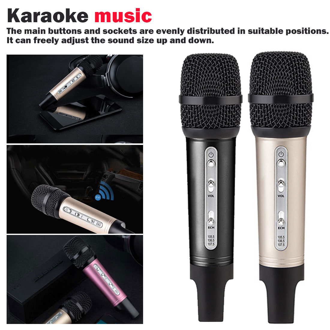 Wired Bluetooth Microphone Professional Home Studio Handheld Computer Capacitive Car Microphone For Car Radio  Wireless Karaoke