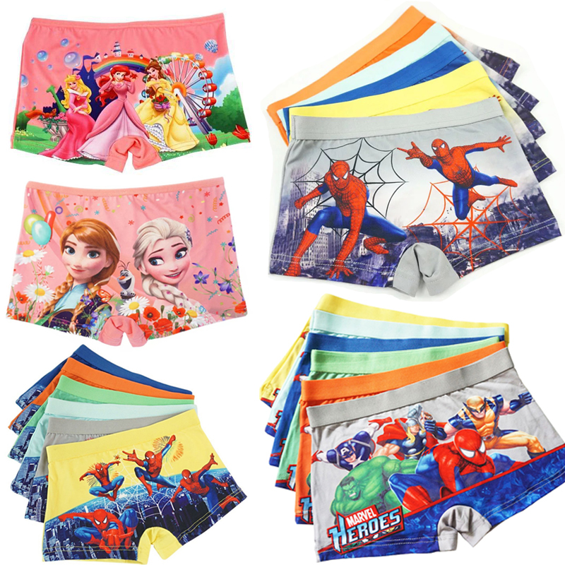 12pcs/lot 2-7Y Baby Boys Underwear Spiderman Kids Boxer Shorts Underpants Sophia Girls Panties Princess Anna Elsa Panty Briefs