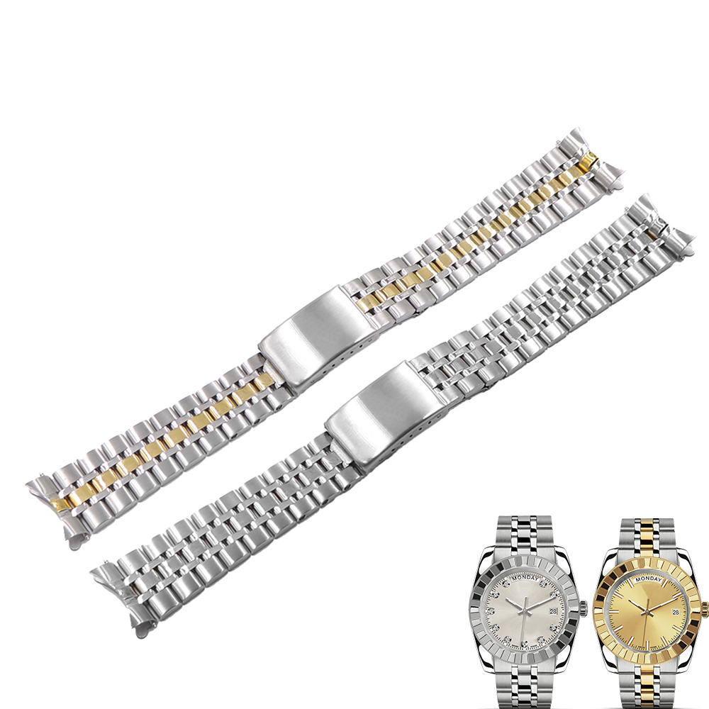 Rolamy 19mm 316L Stainless Steel Hollow Curved End Screw Links Replacement Wrist Watch band Strap Bracelet For Tudor|Watchbands| - AliExpress