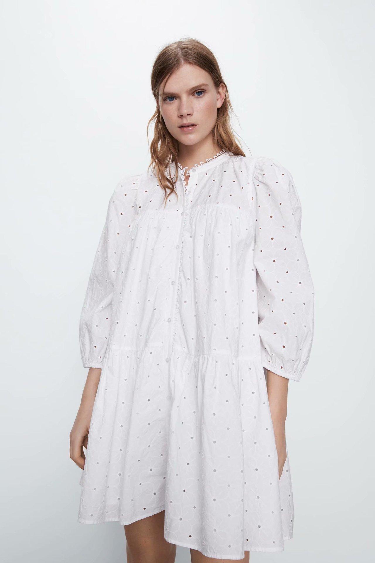 2020 Spring Summer New Style European Hollow Embroided Female White Dress Zaraing Vadiming Sheining Women Dress