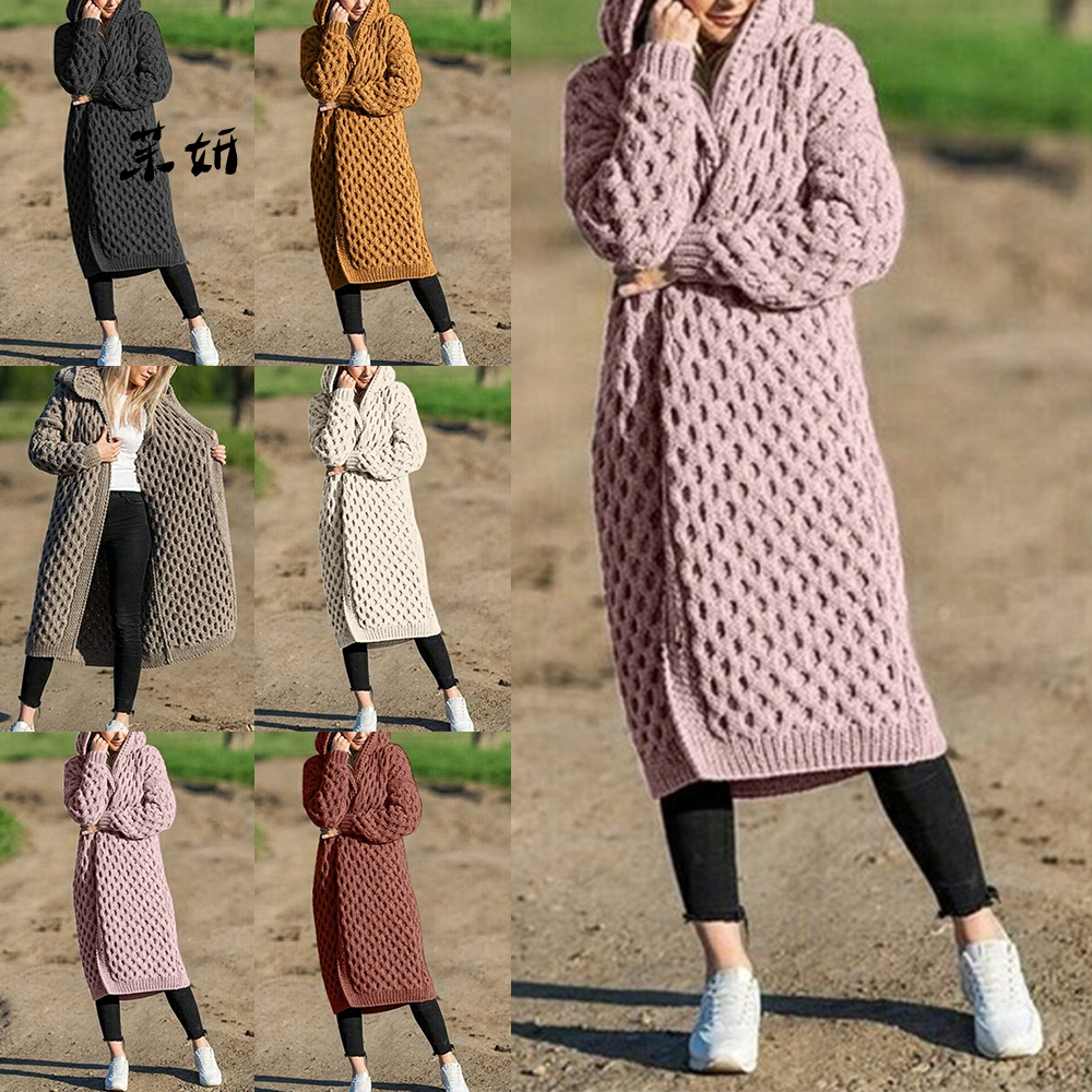 Women Knitted Cardigan Winter Thick Warm Hooded Long Cardigan Female Long Sleeve Vintage Sweater Outerwear Plus Size 5xl Coats