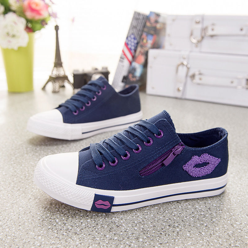 Comfortable Trainers Zipper Red Lips Designer Women Sneakers Summer Casual White Canvas Shoes Basket Femme Flats Sapato Feminino