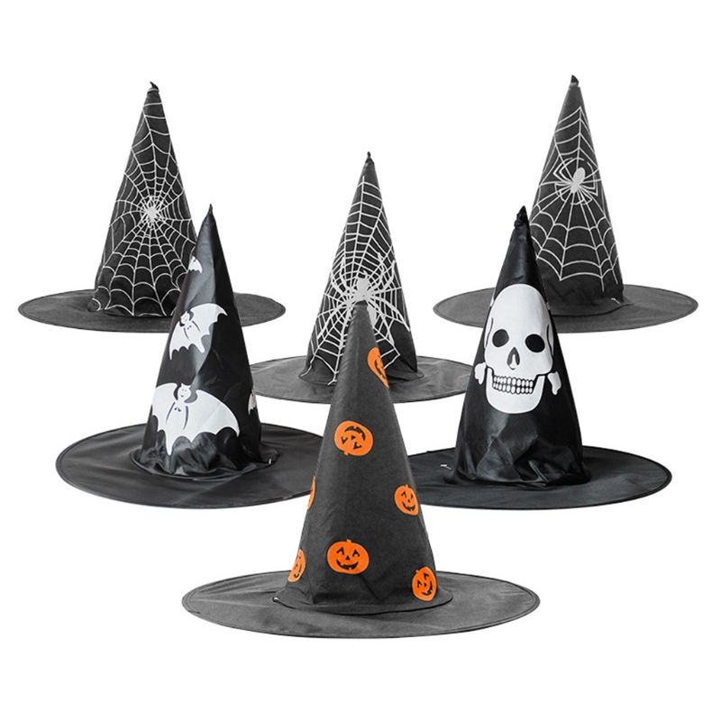 1PC Faux Silk Witch Hat Pumpkin Spider Web Skull Printed Halloween Cosplay Costume Party Decor For Adults Kids Random Styles