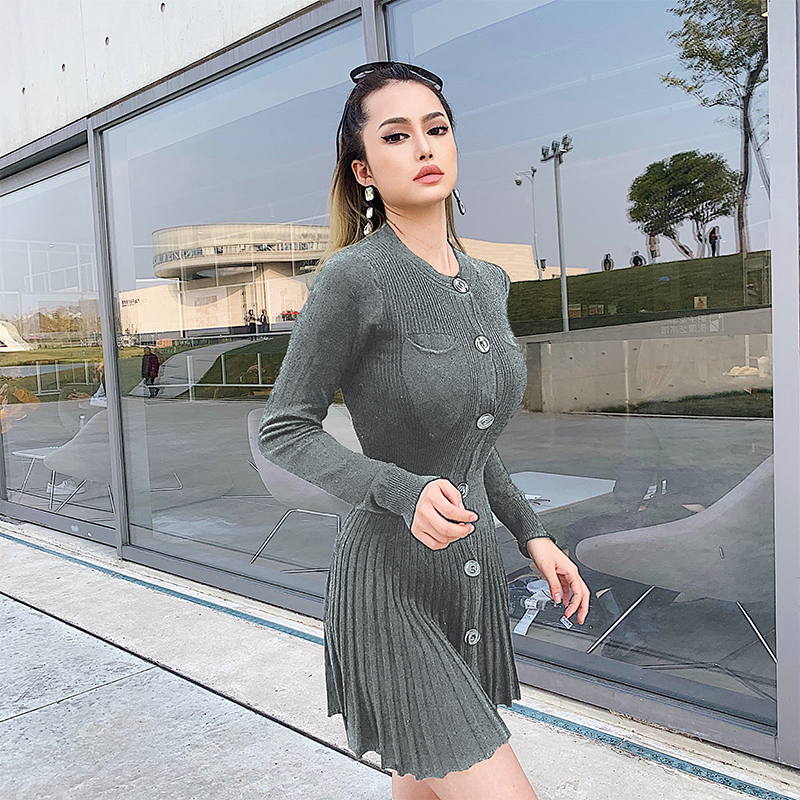 Gray Knitted  Dress (1)