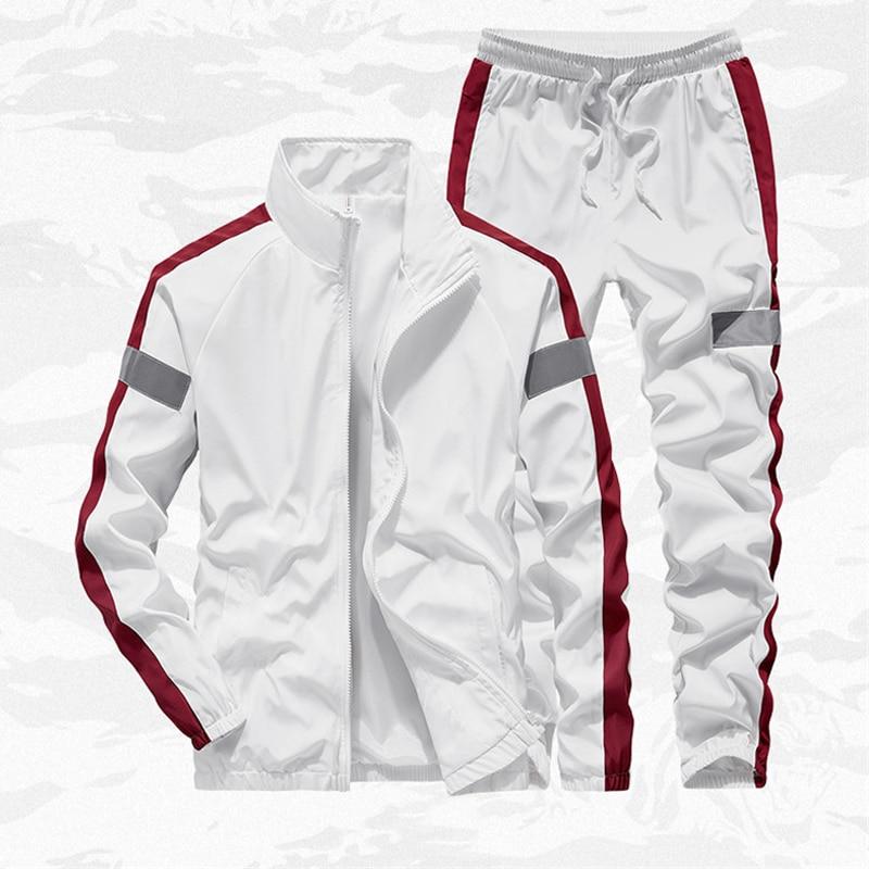 Men's Set Spring Autumn Men Sportswear 2 Piece Set Jogging Suit Jacket+Pant Sweatsuit Male Slim Fit Tracksuit Asian Size M-4XL