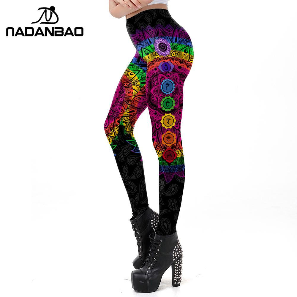 NADANBAO Classic Mandala Seven Chakra Leggings Women Pants Round Ombre Printing Leggins Fashion Outdoor Legins Plus Size