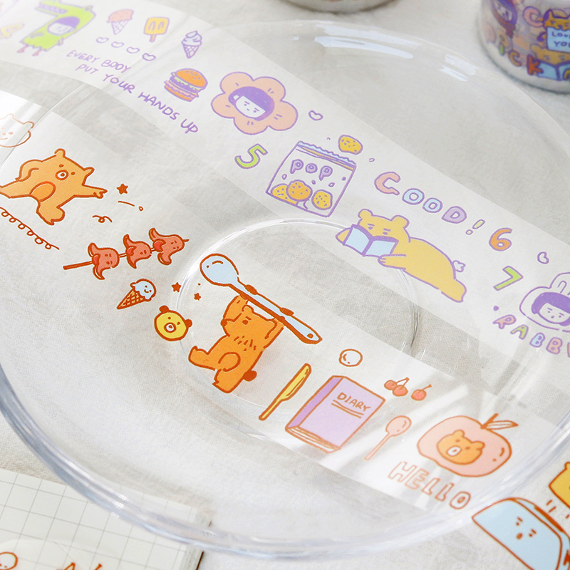 7PCS/LOT crayon shop series cute fresh Ins cartoon decorative white ink PET tape