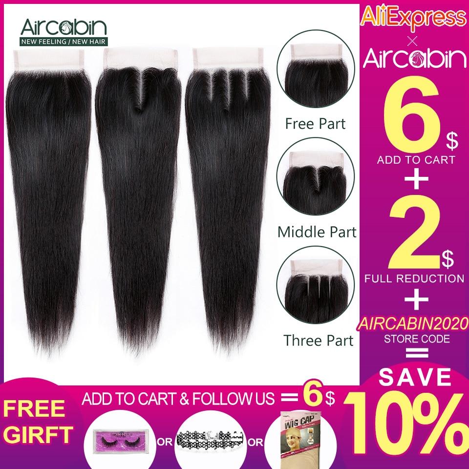 Aircabin Hair Brazilian Straight 4x4 Closure Remy Hair Free/Middle/Three Part Human Hair Lace Closure 8