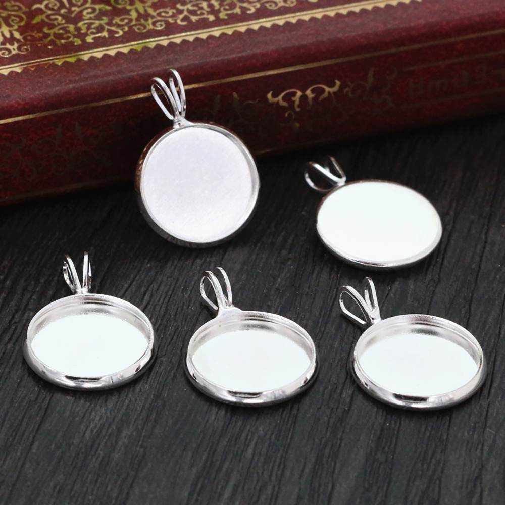 20pcs 12mm Inner Size Silver Plated Brass Material Simple Style Cabochon Base Cameo Setting Charms Pendant Tray (A1-08)