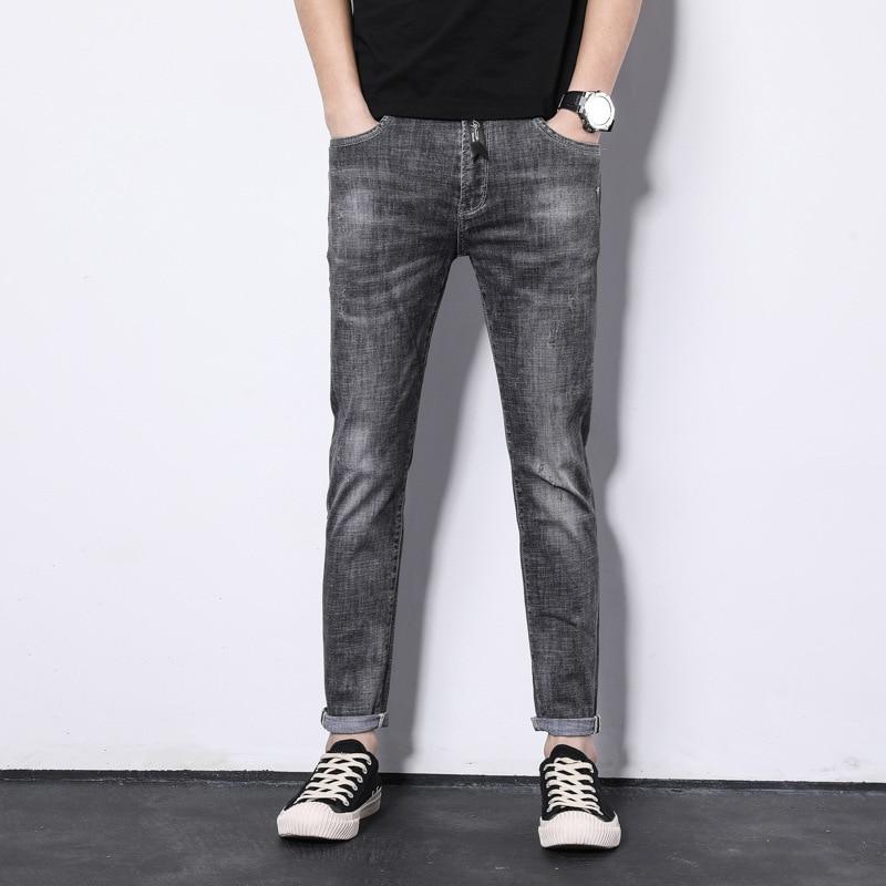 Summer Men'S Wear Campus Korean-style Trending Slim Fit Light Straight-leg Jeans Youth Elasticity Versatile Casual Cowboy Trouse