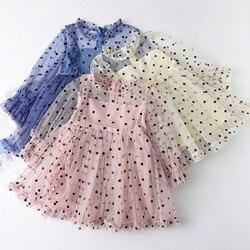 С длинными рукавами, с фатиновой юбкой, платье для девочек, платье принцессы в горошек, с оборками Летняя Одежда для девочек на день рождения...