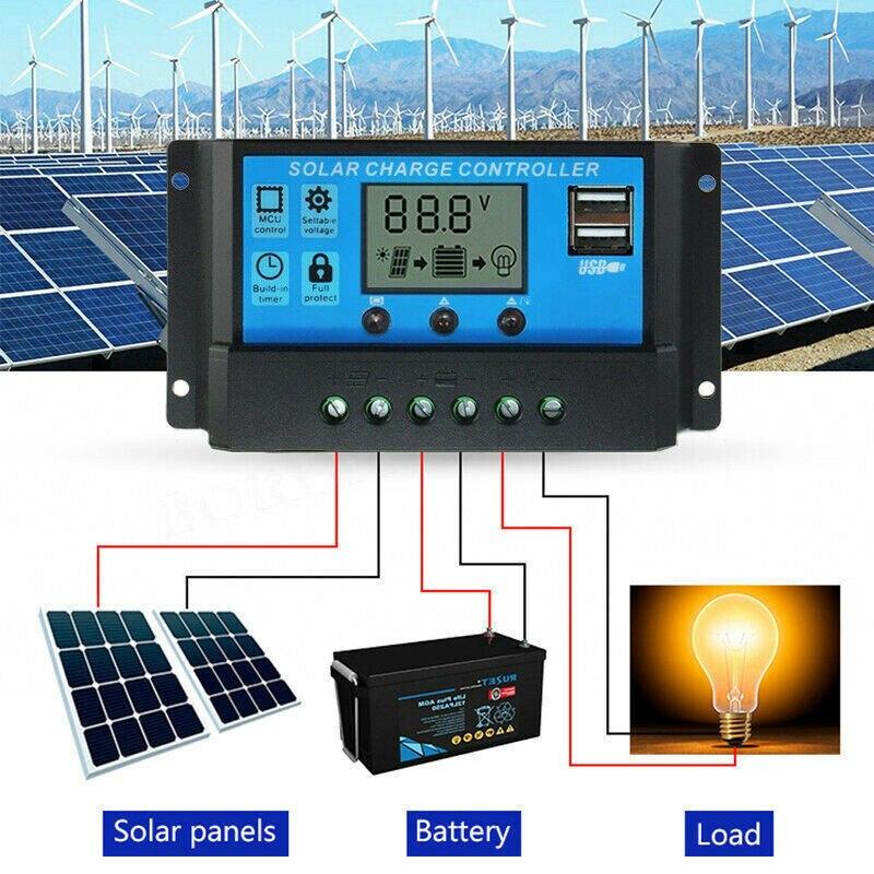 Солнечные Контроллеры 10A /20A /30A LCD MPPT панели солнечных батарей регулятор заряда контроллер двойной USB