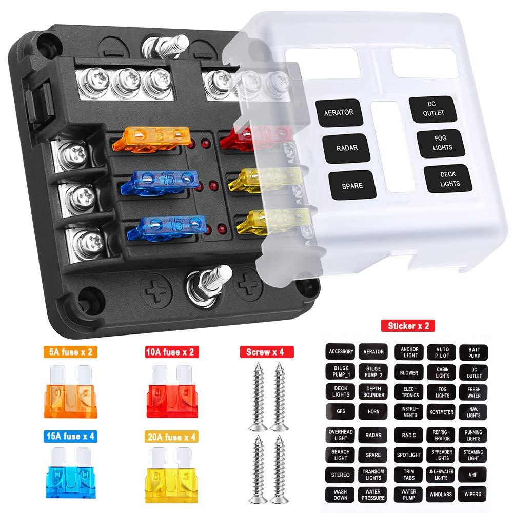 Support de la boîte de fusible de bloc de fusible de lame de 6 manières, bloc de fusible d'ato/Atc de voiture de 6 circuits avec l'autocollant indicateur LED de couverture de Protection résistant à l'humidité