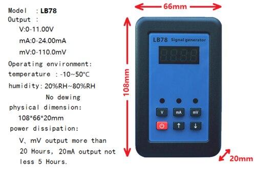 2019 LB78 4-20mA/0-10 V/mV calibrateur de source de générateur de Signal avec PLC, DCS, ESD
