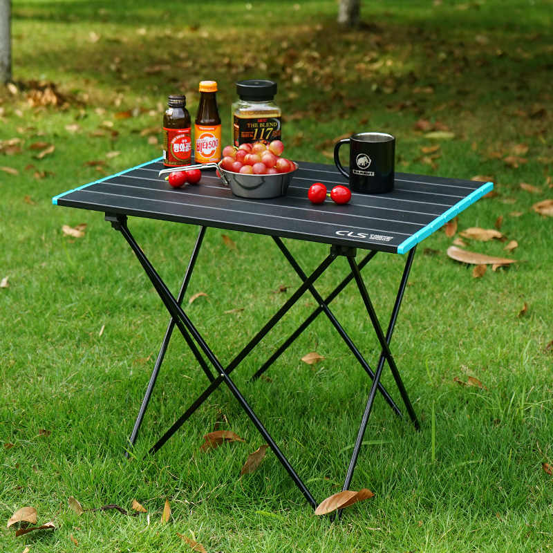 Outdoor Aluminium Meja Lipat Self-Driving Portabel Piknik BBQ Plate Table