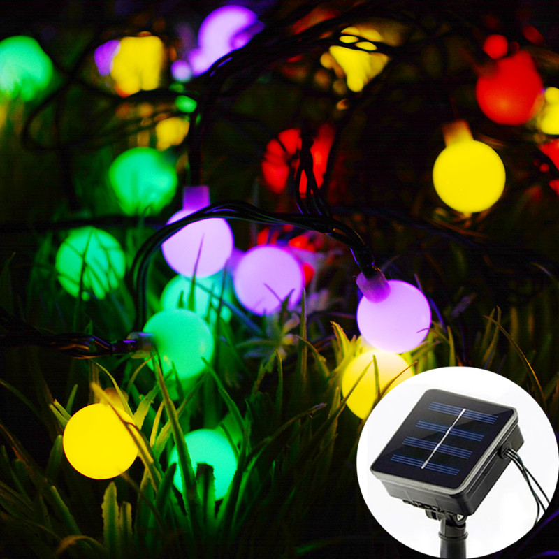 5M LED Ball Solar String Lights Outdoor Waterproof Garland Twinkle Fairy Lights Garden Party Xmas Decoration Christmas Lights