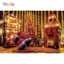 Yeele Christmas Background Photophone Fireplace Toy Doll Tree Light Gift Wood Photography Backdrop Photo Studio Vinyl Photocall