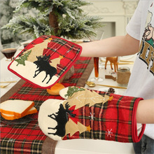 Christmas decoration plaid cloth insulation gloves microwave oven gloves mat insulation meal mat home  heat resistant gloves thickening cotton gloves heat resistant gloves heat insulation safety gloves microwave oven gloves g0408