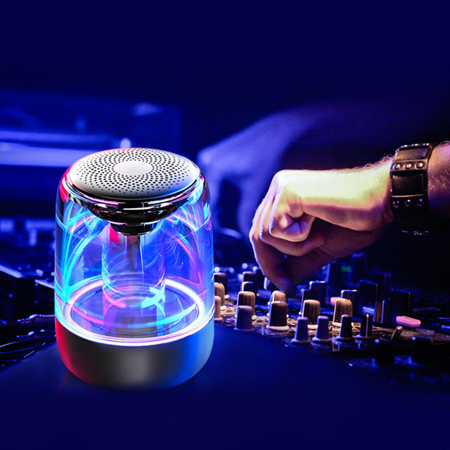 "BYMUSE C7 ""5W"" Wireless Bluetooth Speakers LED Lights  Stereo Column Portable Speaker  TF Card FM  For Phones Speaker HIFI 5"