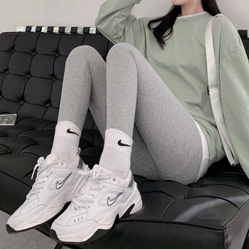 2020 new autumn and winter grey thread leggings, women wear thin elastic tight leggings, black autumn pants image