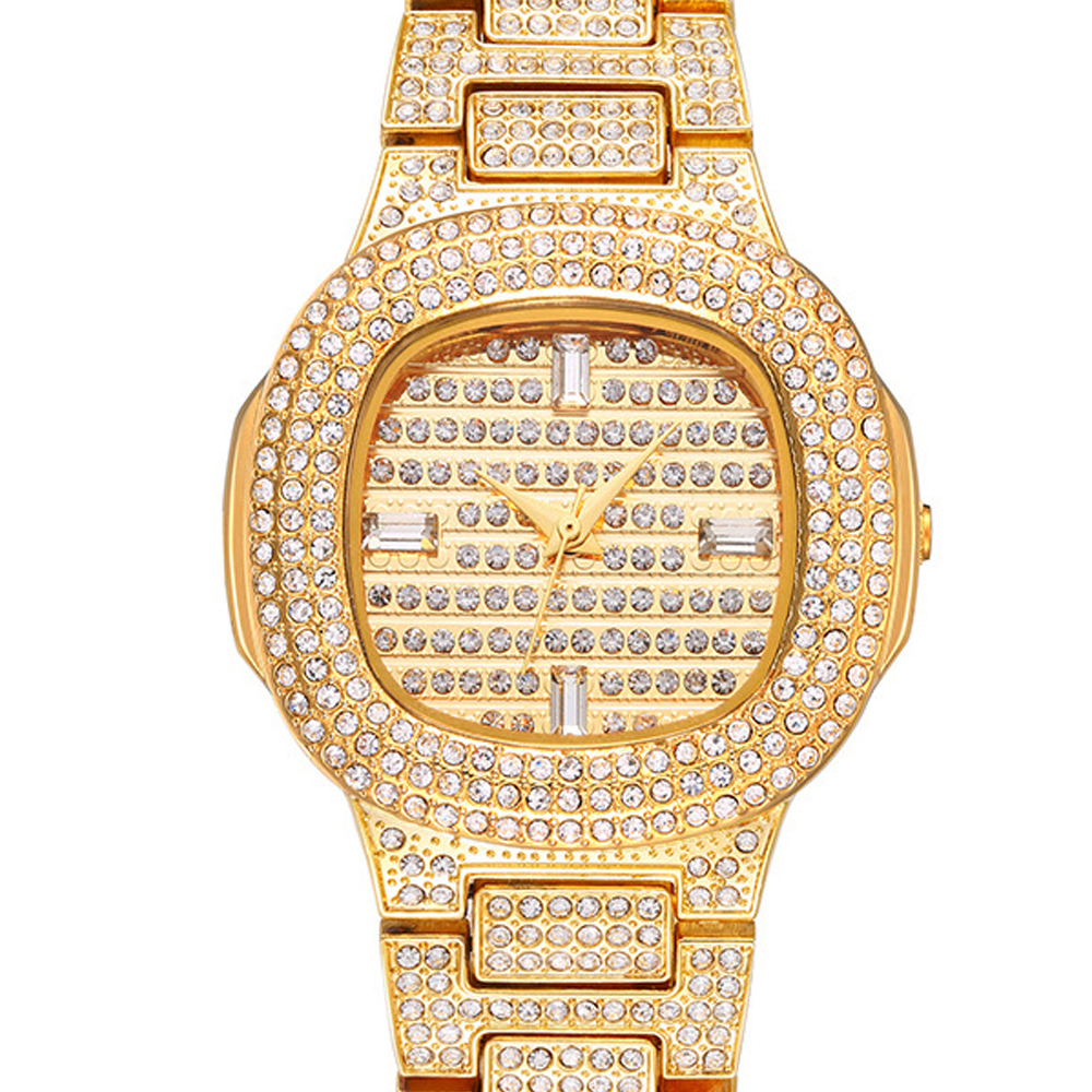 Couple Watches 2020 Luxury Brand Fashion Iced Out Diamond Quartz Watch Women's Men's 18k Stainless Steel Band Waterproof Clock
