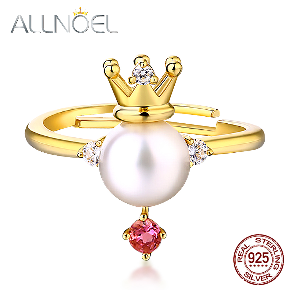 ALLNOEL 925 Sterling Silver Pearl  Diamond Rings Pink Tourmaline Gemstone For Women Luxury Brand Princess Wedding Party Jewelry