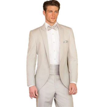 New Men's Suit Smolking Noivo Terno Slim Fit Easculino Evening Suits For Men Beige Tuxedos Formal Evening jacket+pants