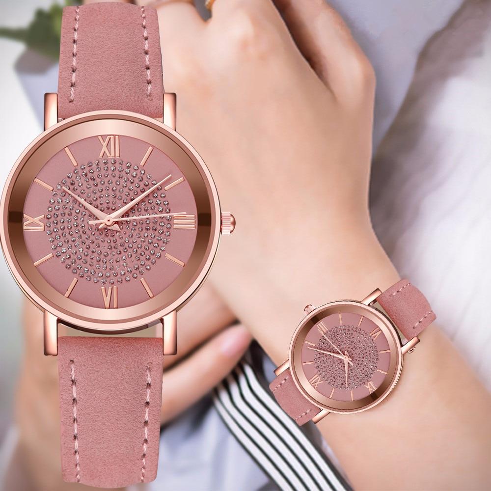 2020 Starry Sky Dial Watches for Women Fashion Roman Scale Rhinestone Leather Ladies Quartz Watch Female Wrist Watch reloj mujer 1