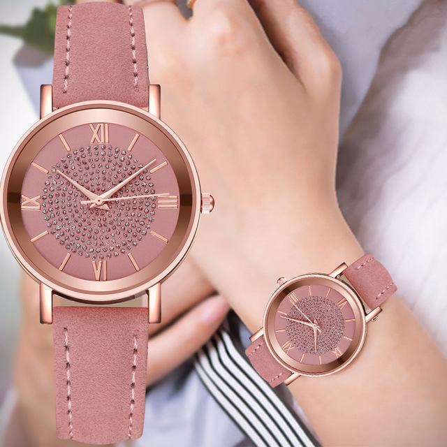 2020 Starry Sky Dial Watches for Women Fashion Roman Scale Rhinestone Leather Ladies Quartz Watch Female Wrist Watch reloj mujer 1