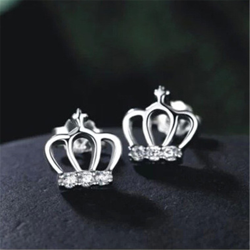 PISSENLIT Simple Women Jewelry Statement Silver Crown Stud Earrings pendientes mujer moda 2019 Metal Grace Stud Earring Gifts in Stud Earrings from Jewelry Accessories