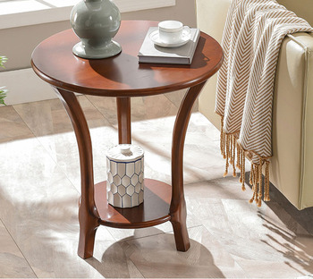 Solid wood sofa side table living room small coffee table sofa side corner table Oak double layer round diameter 60cm renmen side table walnut