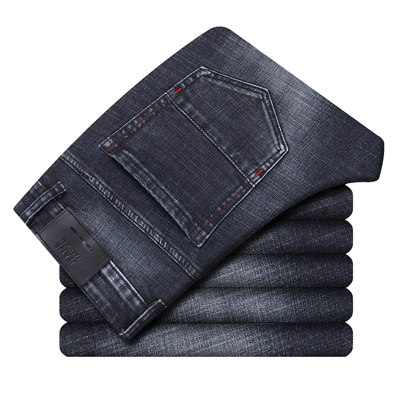 2020 Stretch Slim Fit Trousers Male Brand Pants Blue  Men's Washed Vintage Jeans Autumn New Fashion Casual Denim