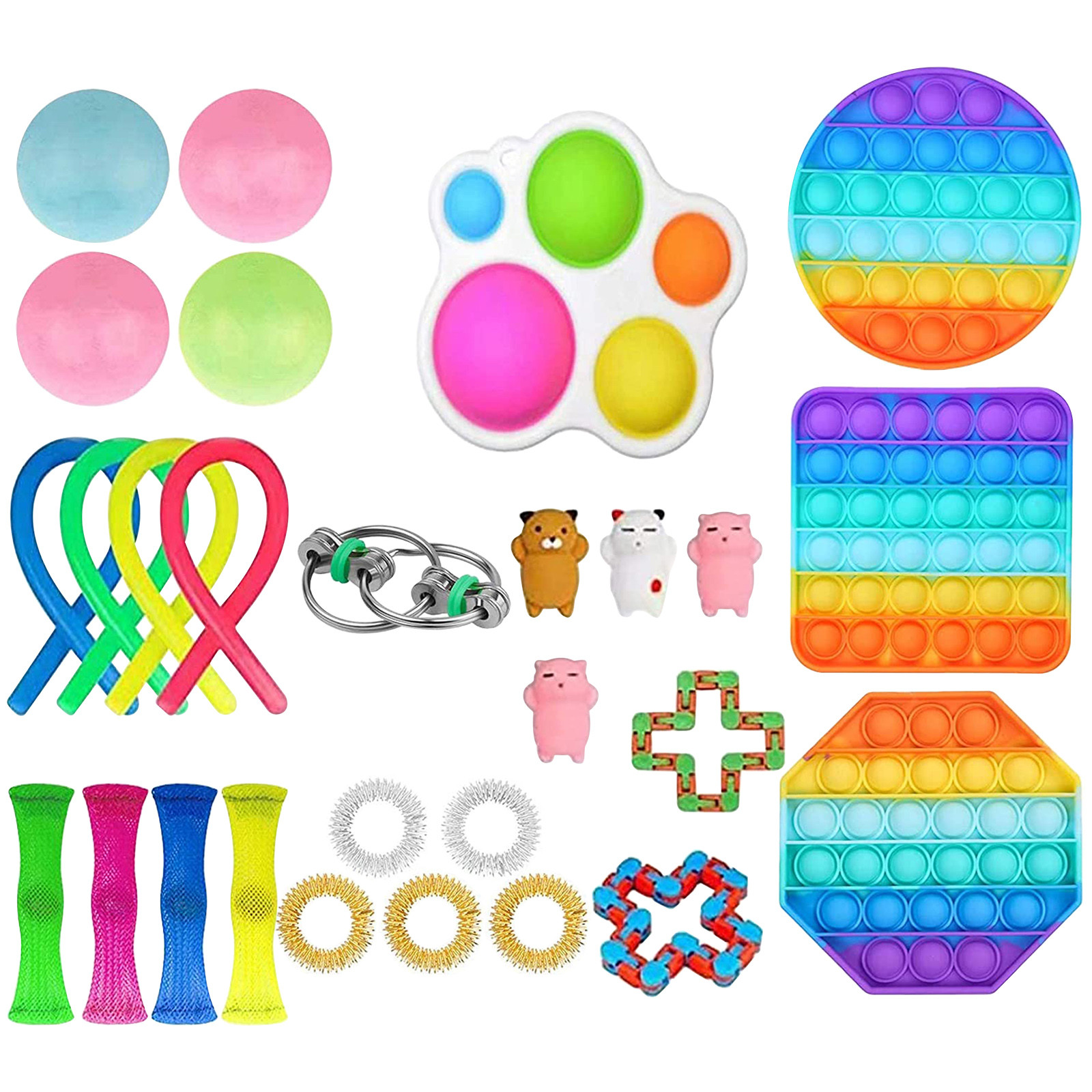Fidget-Toys Anti-Stress-Set Squishy Children Strings Poppit-Pack Relief Sensory Adult