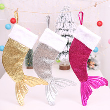 2019 New Xmas Candy Bag Christmas Decoration Fish Shape Sequins Mermaid Tail Sock Children Gift Bags Home Hanging Decor