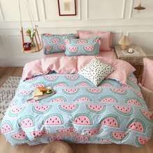 INS Style Simple  Cotton Bedding Four-Piece Set  Cotton Bed Sheet Three-Piece Set Net Red Fresh Quilt Cover Summer