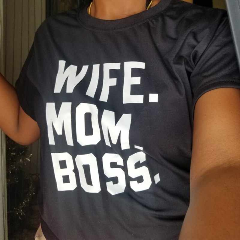 Camiseta de mujer 2019 esposa mamá jefe letras impresas divertidas camisetas femeninas camisetas Tumblr Hipster Casual salvaje camiseta de las señoras