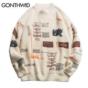 GONTHWID Graffiti Knitted Pullover Jumper Sweaters Streetwear Hip Hop Casual Long Sleeve Turtleneck Knitwear Sweater Men Tops(China)